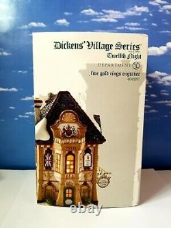DEPT 56 Dickens Village Twelth Night FIVE GOLD RING ENGRAVERS! Hard To Find