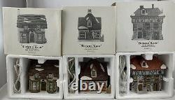 Dept 56 Dickens Lane Set Of Three Shops Complete Toys Coffee Pub/Livery 1986